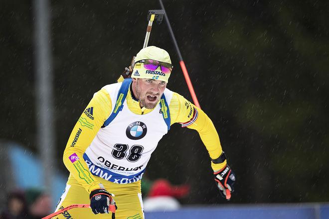 FREDRIK LINDSTRÖM var bäste svensk i sprinten i Oberhof. Här är han på väg mot en 24:e plats i det blöta vädret i Tyskland. Foto: NORDIC FOCUS