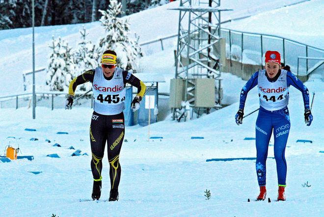 JOHANNA HAGSTRÖM, Ulricehamns IF (tv) och Emma Larsson, IFK Mora på väg mot andra respektive tredje plats i D19-20 i Scandic Cup i Östersund. Foto: THORD ERIC NILSSON