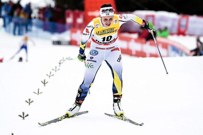 ANNA HAAG sliter sig uppför Alpe Cermis till en 12:e plats i Tour de Ski. Det blev det bästa svenska damresultatet, ingen stor Tour för dom svenska damerna alltså. Foto: NORDIC FOCUS