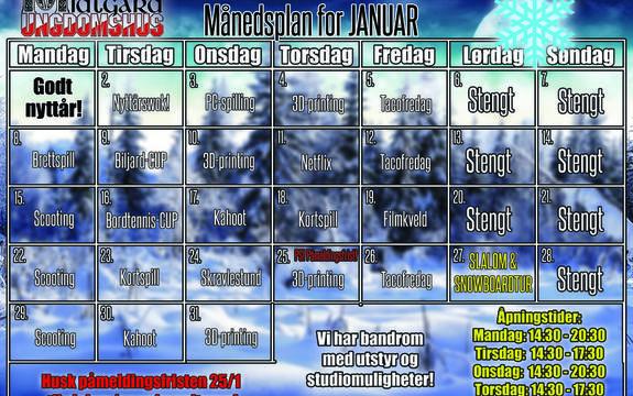 Månedsplan januar 2018 Midtgard