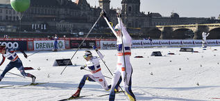 14.01.2018, Dresden, Germany (GER):Maja Dahlqvist (SWE), Stina Nilsson (SWE), Sophie Caldwell (USA) - FIS world cup cross-country, team sprint, Dresden (GER). www.nordicfocus.com. © Thibaut/NordicFocus. Every downloaded picture is fee-liable.