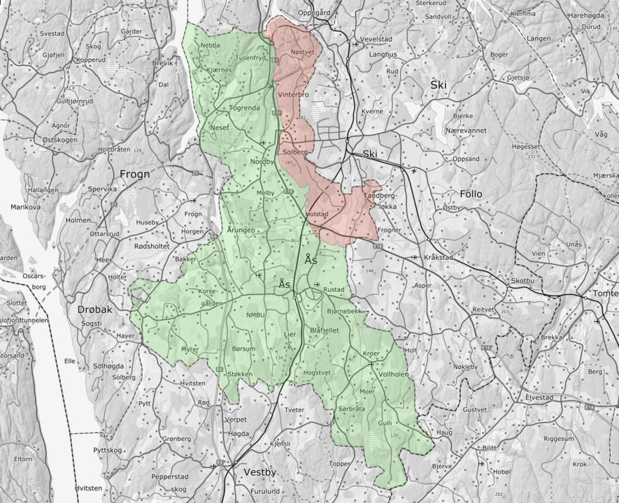 Illustrasjonskart som viser berørt område ved en eventuell grensejustering