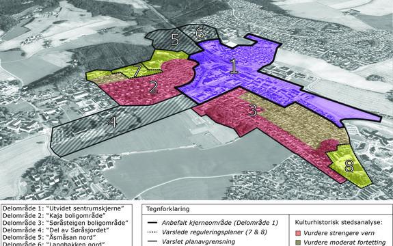 Oversiktskart med rådmannens anbefaling fugleperspektiv