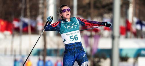 15.02.2018, Pyeongchang, Korea (KOR):Jessica Diggins (USA) - XXIII. Olympic Winter Games Pyeongchang 2018, cross-country, 10km women,  Pyeongchang (KOR). www.nordicfocus.com. © Modica/NordicFocus. Every downloaded picture is fee-liable.
