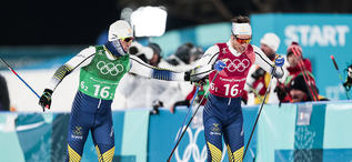 21.02.2018, Pyeongchang, Korea (KOR):Calle Halfvarsson (SWE), Marcus Hellner (SWE), (l-r)  - XXIII. Olympic Winter Games Pyeongchang 2018, cross-country, team sprint,  Pyeongchang (KOR). www.nordicfocus.com. © Modica/NordicFocus. Every downloaded pict