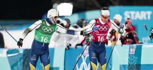 21.02.2018, Pyeongchang, Korea (KOR):Calle Halfvarsson (SWE), Marcus Hellner (SWE), (l-r)  - XXIII. Olympic Winter Games Pyeongchang 2018, cross-country, team sprint,  Pyeongchang (KOR). www.nordicfocus.com. © Modica/NordicFocus. Every downloaded pict