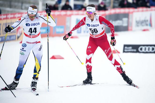 LOVISA MODIG (tv) slet sig genom tremilen i Holmenkollen i söndags men fick ingen plats bland 15 åkare i Svenska Skidspelen. Ganska otroiligt! Foto: NORDIC FOCUS