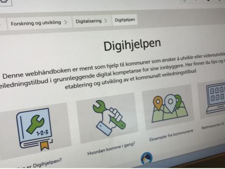 Digihjelpen.no har tips og råd for hvordan din kommune kan bygge et veiledningstilbud for innbyggere som trenger mer digital kompetanse. Illustrasjonsbilde: KS
