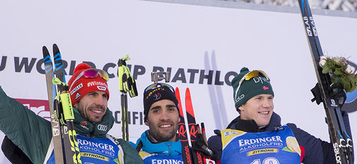 15.12.2018, Hochfilzen, Austria (AUT):Arnd Peiffer (GER), Martin Fourcade (FRA), Vetle Sjaastad Christiansen (NOR), (l-r) - IBU world cup biathlon, pursuit men, Hochfilzen (AUT). www.nordicfocus.com. © Manzoni/NordicFocus. Every downloaded picture is fe
