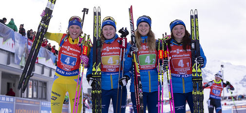 16.12.2018, Hochfilzen, Austria (AUT):Hanna Oeberg (SWE), Emma Nilsson (SWE), Mona Brorsson (SWE), Linn Persson (SWE), (l-r) - IBU world cup biathlon, relay women, Hochfilzen (AUT). www.nordicfocus.com. © Manzoni/NordicFocus. Every downloaded picture is