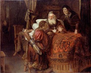 """Bildet viser kunstverket """"Isaac blessing Jacob"""" av Gerrit W. Horst"""