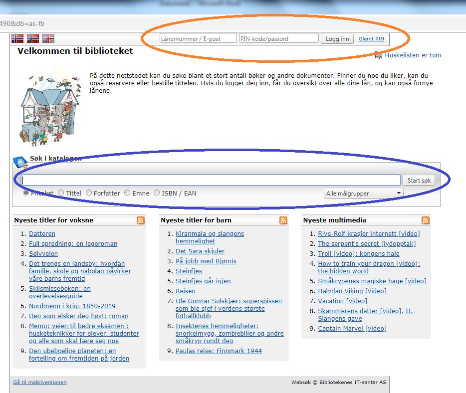 Bildet markerer hvor innlogging og søk i basen nå befinner seg på nettsiden