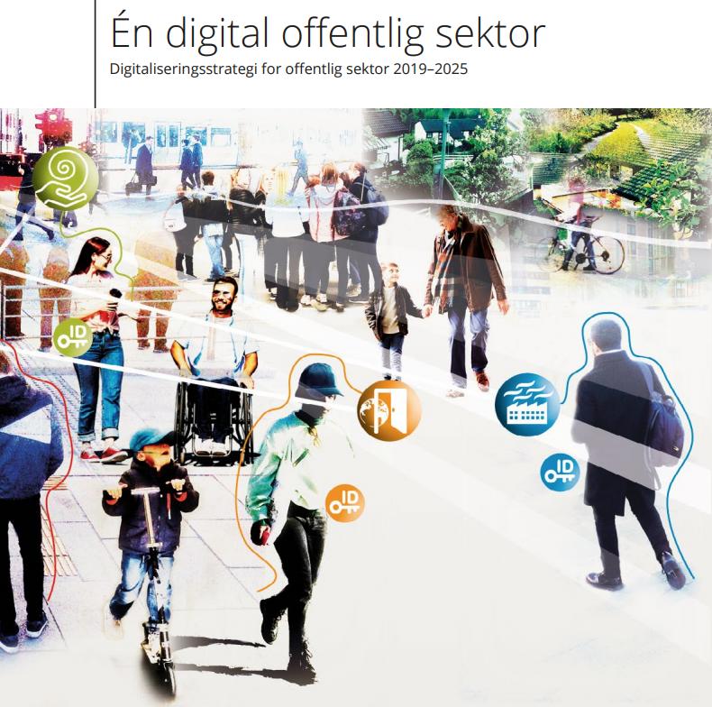 Illustrasjonsbilde fra forsiden av regjeringens digitaliseringsstrategi.