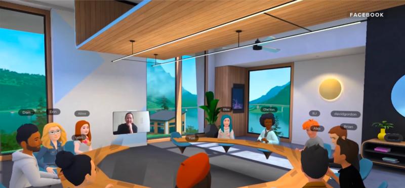 Er du klar for å møte dine kolleger i Virtual Reality? Også fredagspils og minigolf kan foregå på samme virtuelle måte. Illustrasjon: Skjermdump fra YouTube/Facebook's Horizon Workrooms for Oculus Quest 2