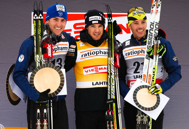 12.03.2011, Lahti, Finland (FIN): (l-r) Maurice Manificat (FRA), Fischer, Swix, Rottefella, One Way, Dario Cologna (SUI), Fischer, Swix, Alpina, Rottefella, ODLO, Casco, Toko and Vincent Vittoz (FRA), Rossignol, One Way, Rottefella - FIS world cup cross-