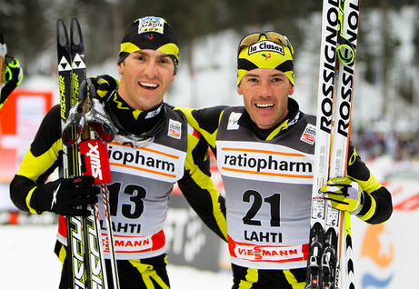 12.03.2011, Lahti, Finland (FIN): (l-r) Maurice Manificat (FRA), Fischer, Swix, Rottefella, One Way and Vincent Vittoz (FRA), Rossignol, One Way, Rottefella - FIS world cup cross-country, pursuit men, Lahti (FIN). www.nordicfocus.com. © Laiho/NordicFocu