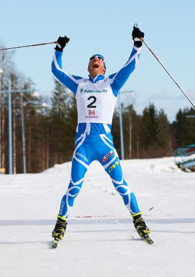 10.04.2011, Rovaniemi, Finland (FIN): the winner Jean Marc Gaillard (FRA), Fischer, Swix, Rottefella, One Way - Tour de Barents 2011, Ounasvaara Climb Pursuit, Rovaniemi (FIN). www.nordicfocus.com. © Laiho/NordicFocus. Every downloaded picture is fee-li