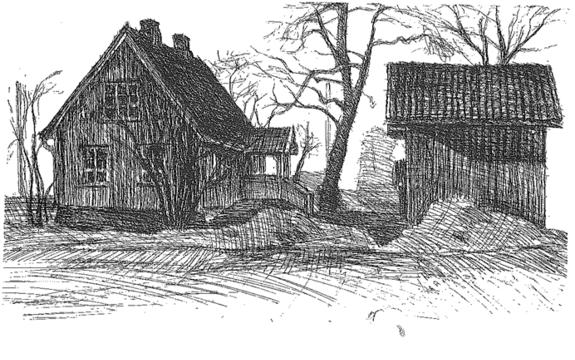Solberg Gård, Gårdsnummer 102, Ås kommune. Tusj av Morten Gran.