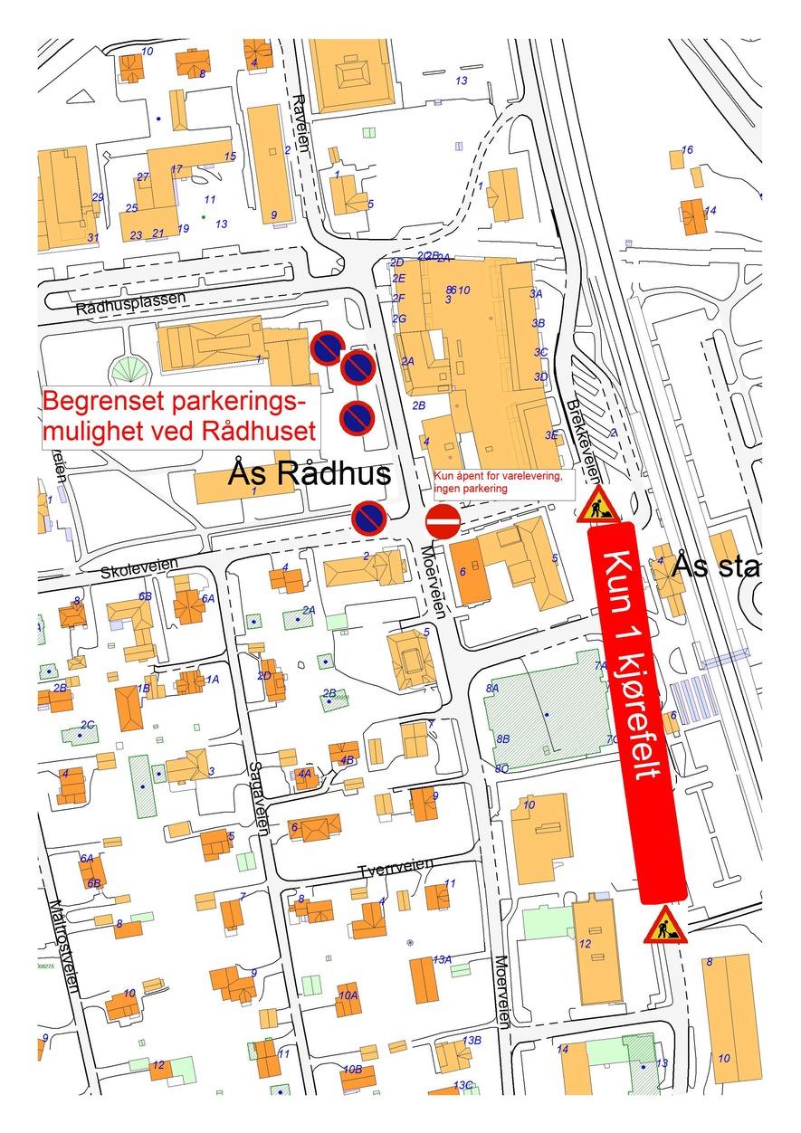 kart over parkering i mai i Ås sentrum