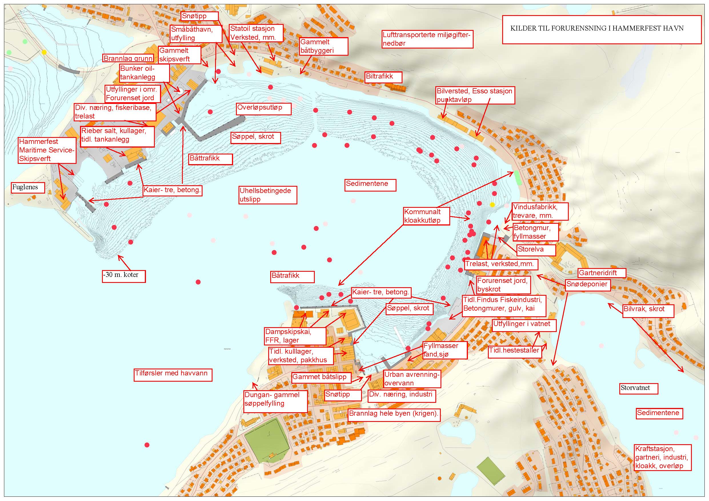 båttrafikk kart Kilder til forurensing i Hammerfest havn   Hammerfest kommune båttrafikk kart