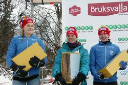 STINA NILSSON (fr v), Anna Haag och Sofia Bleckur var 6:a, 5:a respektive 4:a i premiären i Bruksvallarna för IFK Mora SK. Foto: KJELL-ERIK KRISTIANSEN