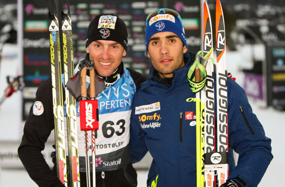 16.11.2012, Beitostoelen, Norway (NOR): (l-r) Maurice Manificat (FRA), Fischer, Swix, Rottefella, One Way and Martin Fourcade (FRA), Rossignol, One Way, Rottefella - Beitosprinten Cross-Country, 15 km men skating, Beitostoelen (NOR). www.nordicfocus.com.