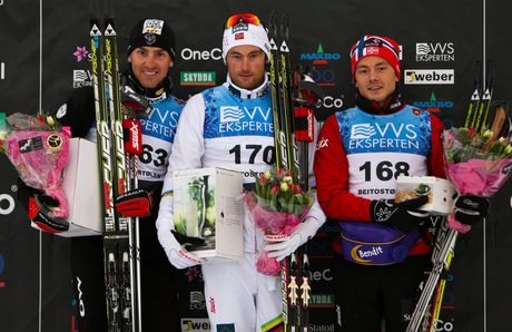 16.11.2012, Beitostoelen, Norway (NOR): (l-r) Maurice Manificat (FRA), Fischer, Swix, Rottefella, One Way, Petter Northug (NOR), Fischer, Swix, Alpina, Rottefella and Finn Hagen Krogh (NOR), Fischer, Swix, Alpina, Rottefella - Beitosprinten Cross-Country