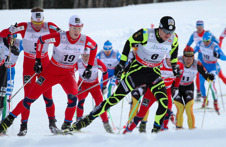 16.12.2012, Canmore, Canada (CAN): Maurice Manificat (FRA), Fischer, Swix, Rottefella, One Way followed by Petter Eliassen (NOR), Fischer, Swix, Alpina, Rottefella and Chris Andre Jespersen (NOR), Rossignol, Start, Rottefella, Skigo - FIS world cup cross