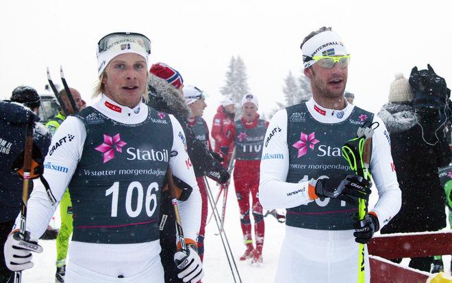 LARS NELSON (t v) och Anders Södergren gjorde en mycket bra insats i Skandinavisk cup i Sjusjöen i Norge, men nu är båda sjuka och borta från Tour de Ski. Foto: KJELL-ERIK KRISTIANSEN
