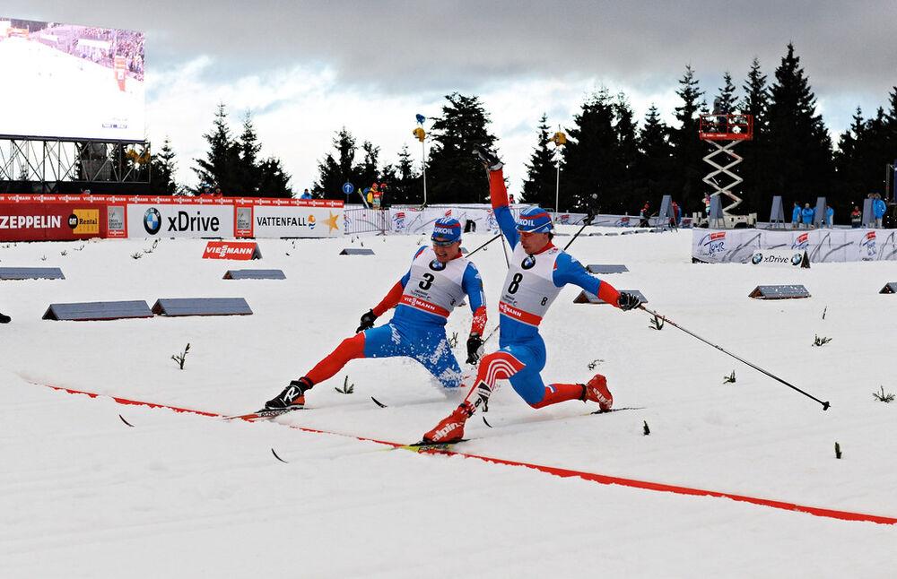 30.12.2012, Oberhof, Germany (GER): (l-r): Alexander Legkov (RUS), Maxim Vylegzhanin (RUS)- FIS world cup cross-country, tour de ski, pursuit men, Oberhof (GER). www.nordicfocus.com. © Felgenhauer/NordicFocus. Every downloaded picture is fee-liable.