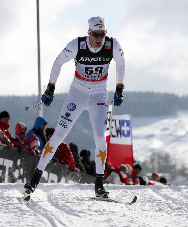 GUSTAV NORDSTRÖM fick åka världscup i Liberec i vintras och tog världscuppoäng för första gången! Foto: MILAN DROBNY