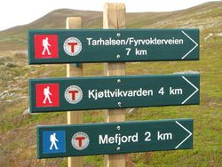 Skilt turstier nordre Sørøya