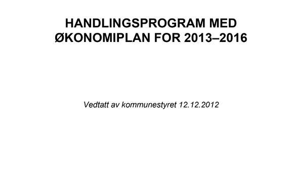 Handlingsprogram med økonomiplan 2013-2016 forside illustrasjon