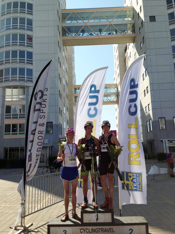 ROBIN NORUM och Marcus Johansson delade segern i herrarnas lopp över 47 km. Till vänster trean Erik Wickström. Foto: ARRANGÖR