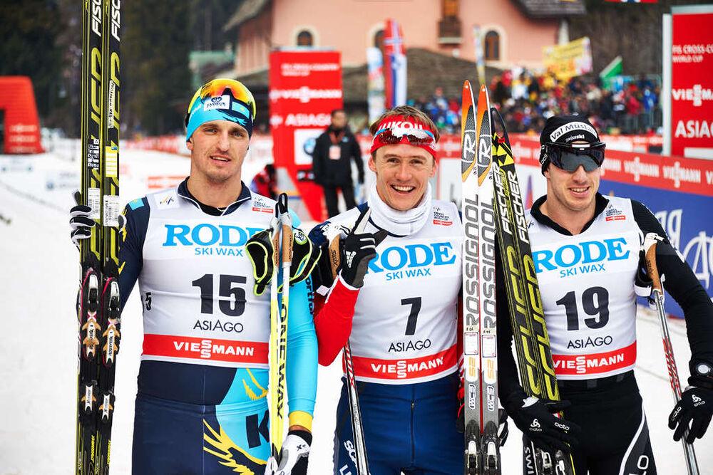 21.12.2013, Asiago, Italy (ITA): Alexey Poltoranin (KAZ), Nikita Kriukov (RUS), Gianluca Cologna (SUI), (l-r)- FIS world cup cross-country, individual sprint, Asiago (ITA). www.nordicfocus.com. © Felgenhauer/NordicFocus. Every downloaded picture is fee-