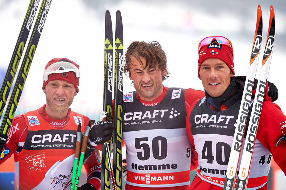 04.01.2014, Val di Fiemme, Italy (ITA): Martin Johnsrud Sundby (NOR), Petter Northug (NOR), Chris Jespersen (SWE), (l-r)- FIS world cup cross-country, tour de ski, 10km men, Val di Fiemme (ITA). www.nordicfocus.com. © Felgenhauer/NordicFocus. Every down