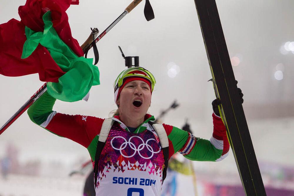 11.02.2014, Sochi, Russia (RUS): Darya Domracheva (BLR)- XXII. Olympic Winter Games Sochi 2014, biathlon, pursuit women, Sochi (RUS). www.nordicfocus.com. © NordicFocus. Every downloaded picture is fee-liable.
