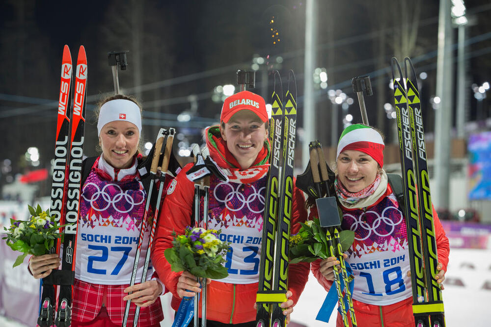 14.02.2014, Sochi, Russia (RUS): Selina Gasparin (SUI), Darya Domracheva (BLR), Nadezhda Skardino (BLR)- XXII. Olympic Winter Games Sochi 2014, biathlon, individual women, Sochi (RUS). www.nordicfocus.com. © NordicFocus. Every downloaded picture is fee-