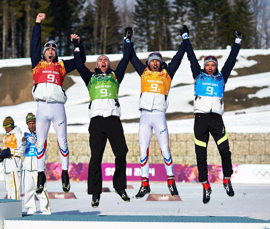 16.02.2014, Sochi, Russia (RUS): Jean Marc Gaillard (FRA), Maurice Manificat (FRA), Robin Duvillard (FRA), Ivan Perrillat Boiteux (FRA), (l-r)- XXII. Olympic Winter Games Sochi 2014, cross-country, 4x10km men, Sochi (RUS). www.nordicfocus.com. © NordicF