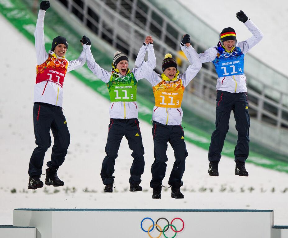 17.02.2014, Sochi, Russia (RUS): (l-r) Andreas Wank (GER), Marinus Kraus (GER), Fischer, Andreas Wellinger (GER), Fluege.de and Severin Freund (GER), Fischer- XXII. Olympic Winter Games Sochi 2014, ski jumping, team HS140, Sochi (RUS). www.nordicfocus.co
