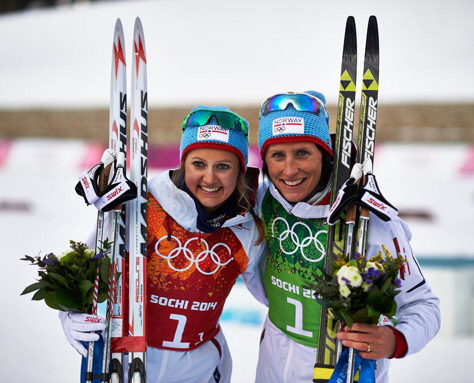 19.02.2014, Sochi, Russia (RUS): Ingvild Flugstad Oestberg (NOR), Marit Bjoergen (NOR), (l-r)- XXII. Olympic Winter Games Sochi 2014, cross-country, team sprint, Sochi (RUS). www.nordicfocus.com. © NordicFocus. Every downloaded picture is fee-liable.