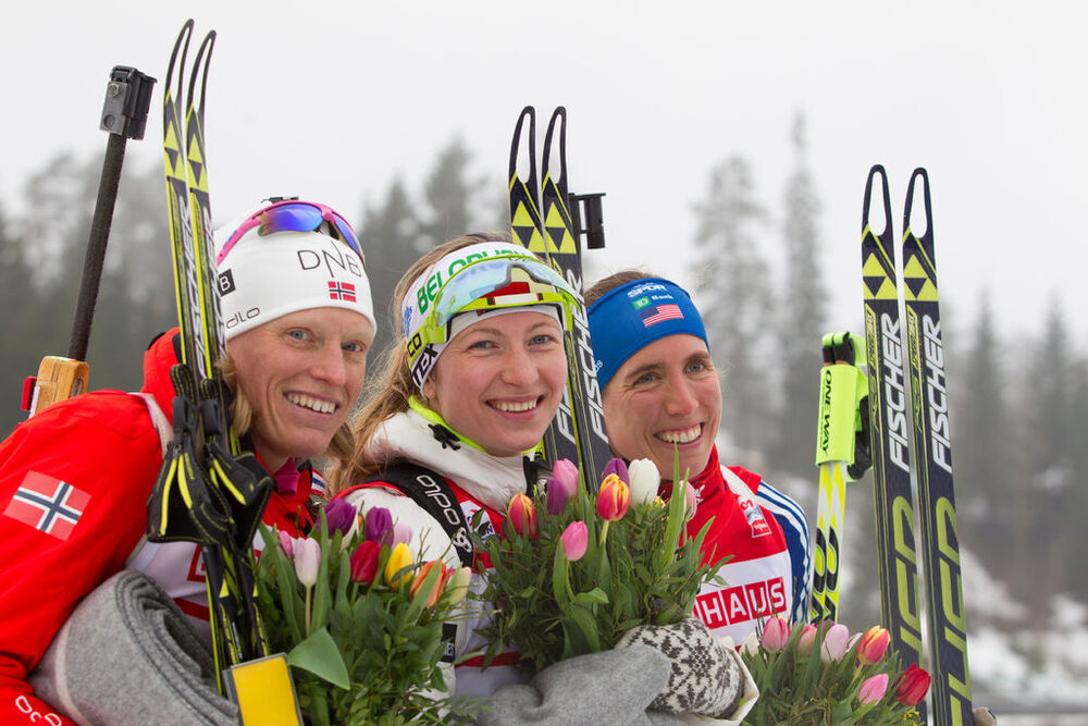 20.03.2014, Oslo, Norway (NOR): Tora Berger (NOR), Darya Domracheva (BLR), Susan Dunklee (USA)- IBU world cup biathlon Holmenkollen, sprint women, Oslo (NOR). www.nordicfocus.com. © Manzoni/NordicFocus. Every downloaded picture is fee-liable.