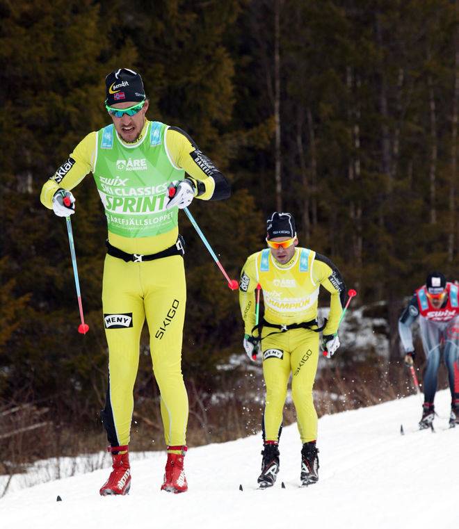 JOHN KRISTIAN DAHL - här i Årefjällsloppet i lördags - spurtade ner Petter Northug i en stafett utanför Trondheim i onsdags. Foto/rights: MARCELA HAVLOVA/sweski.com