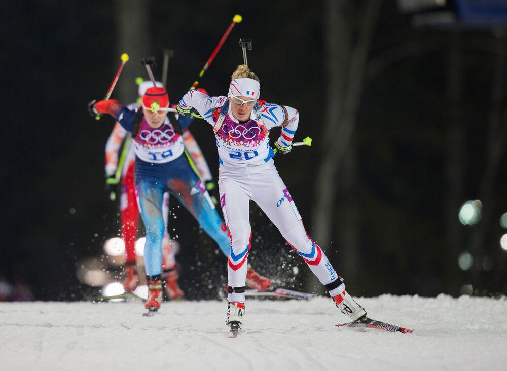 11.02.2014, Sochi, Russia (RUS): Marie Dorin (FRA)- XXII. Olympic Winter Games Sochi 2014, biathlon, pursuit women, Sochi (RUS). www.nordicfocus.com. © NordicFocus. Every downloaded picture is fee-liable.
