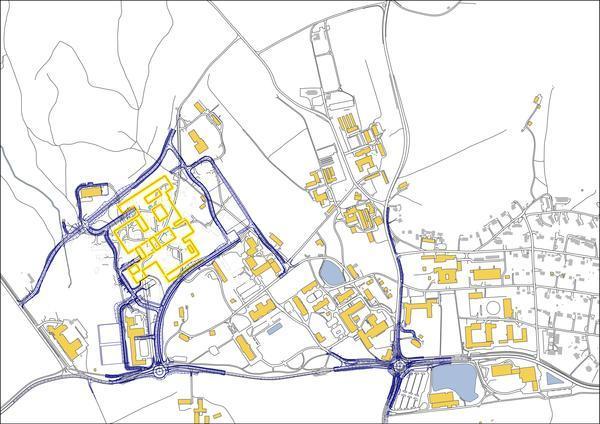 Kart viser nye veier og bygninger for veterinærforskning- og utdanning Veterninærinstituttet på campus