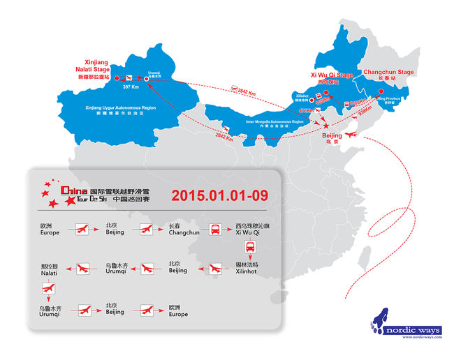MER ÄN 9.000 kilometers transport väntar åkarna i 20015 års upplaga av China Tour de Ski. Karta: NORDIC WAYS