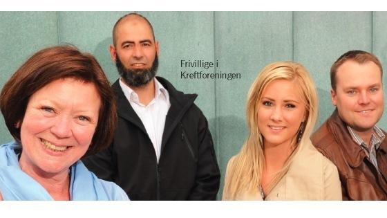 Bilde av fire frivillige i Kreftforeningen