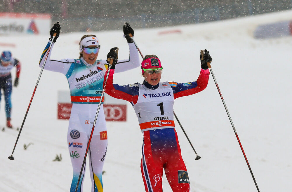 17.01.2015, Otepaeae, Estland (EST): (l-r) Stina Nilsson (SWE), Fischer, Alpina, Craft and Ingvild Flugstad Oestberg (NOR), Madshus, Swix, Rottefella- FIS world cup cross-country, individual sprint, Otepaeae (EST). www.nordicfocus.com. © Laiho/NordicFoc