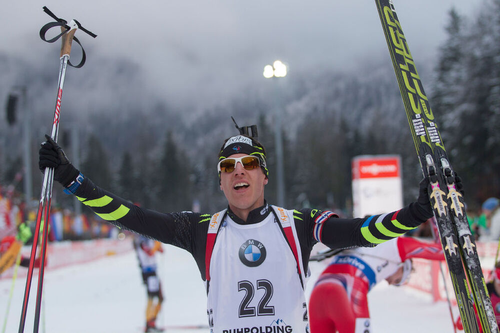 18.01.2015, Ruhpolding, Germany (GER): Quentin Fillon Maillet (FRA)- IBU world cup biathlon, mass men, Ruhpolding (GER). www.nordicfocus.com. © Manzoni/NordicFocus. Every downloaded picture is fee-liable.