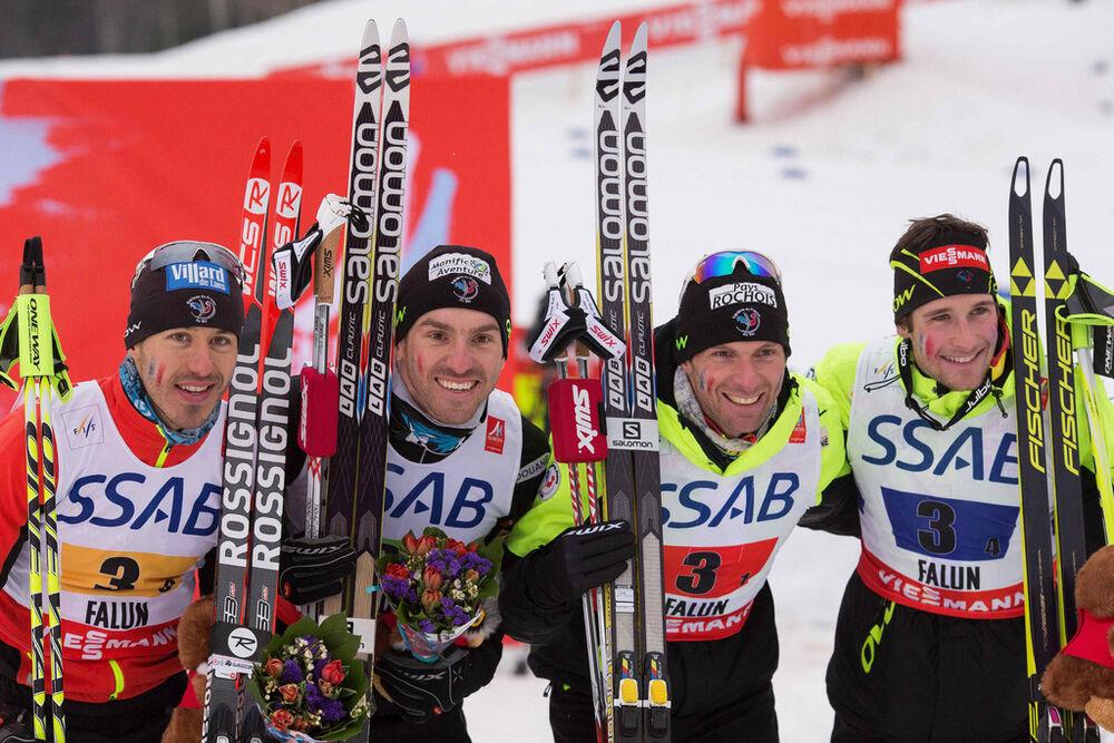 27.02.2015, Falun, Sweden (SWE): Robin Duvillard (FRA), Maurice Manificat (FRA), Jean Marc Gaillard (FRA), Adrien Backscheider (FRA), (l-r) - FIS nordic world ski championships, cross-country, 4x10km men, Falun (SWE). www.nordicfocus.com. © NordicFocus.
